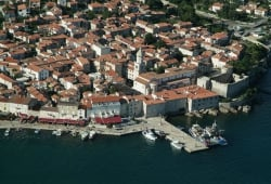 Panorama photo of town of Krk
